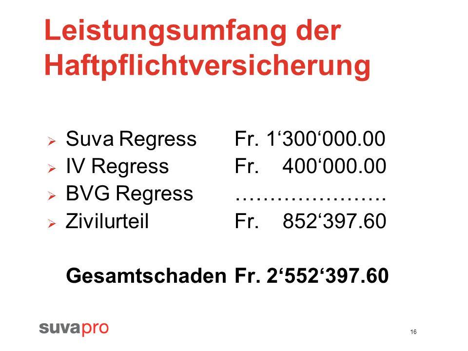 16 Leistungsumfang der Haftpflichtversicherung Suva RegressFr. 1300000.00 IV RegressFr. 400000.00 BVG Regress…………………. ZivilurteilFr. 852397.60 Gesamts