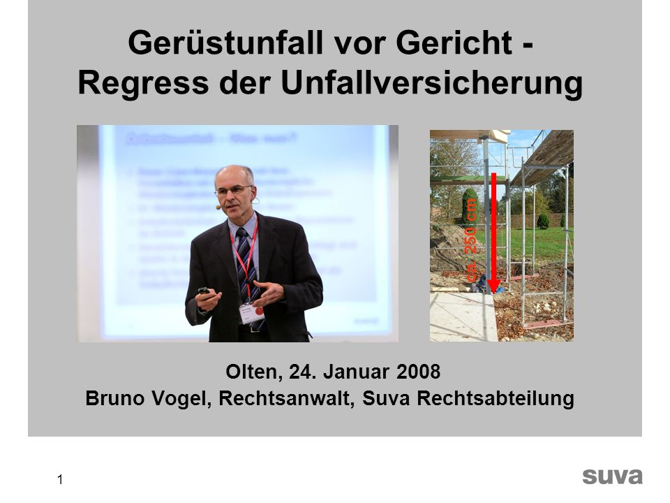 1 Gerüstunfall vor Gericht - Regress der Unfallversicherung Olten, 24. Januar 2008 Bruno Vogel, Rechtsanwalt, Suva Rechtsabteilung ca. 250 cm