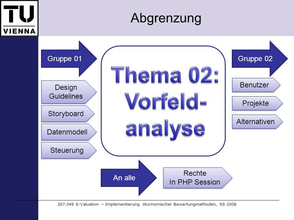 Abgrenzung 267.049 E-Valuation – Implementierung ökomomischer Bewertungmethoden, SS 2008 Gruppe 01 Design Guidelines Storyboard Datenmodell Benutzer P