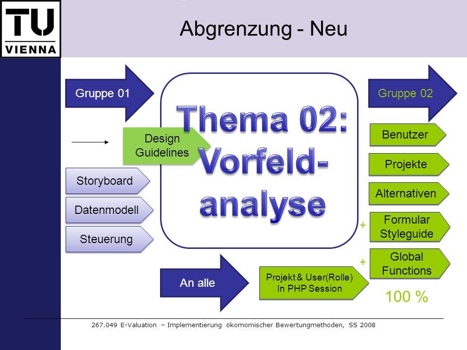 Abgrenzung - Neu 267.049 E-Valuation – Implementierung ökomomischer Bewertungmethoden, SS 2008 Gruppe 01 Design Guidelines Storyboard Datenmodell Benu