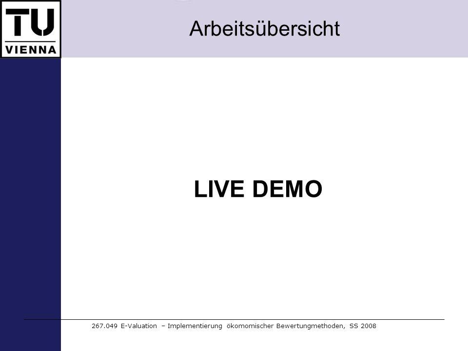 Arbeitsübersicht 267.049 E-Valuation – Implementierung ökomomischer Bewertungmethoden, SS 2008 LIVE DEMO