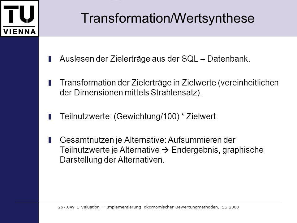 Transformation/Wertsynthese Auslesen der Zielerträge aus der SQL – Datenbank. Transformation der Zielerträge in Zielwerte (vereinheitlichen der Dimens