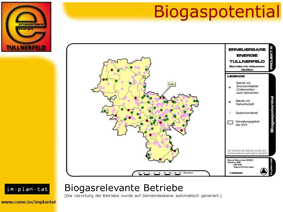 www.come.to/implantat Biogaspotential Biogasrelevante Betriebe (Die Verortung der Betriebe wurde auf Gemeindeebene automatisch generiert.)