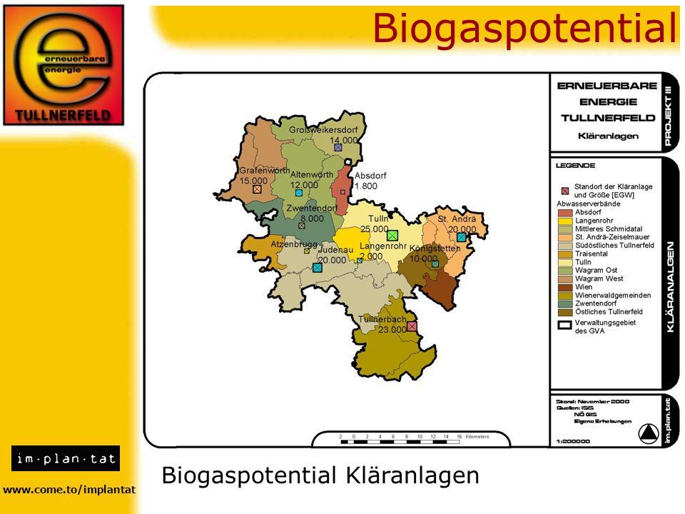 www.come.to/implantat Biogaspotential Biogaspotential Kläranlagen