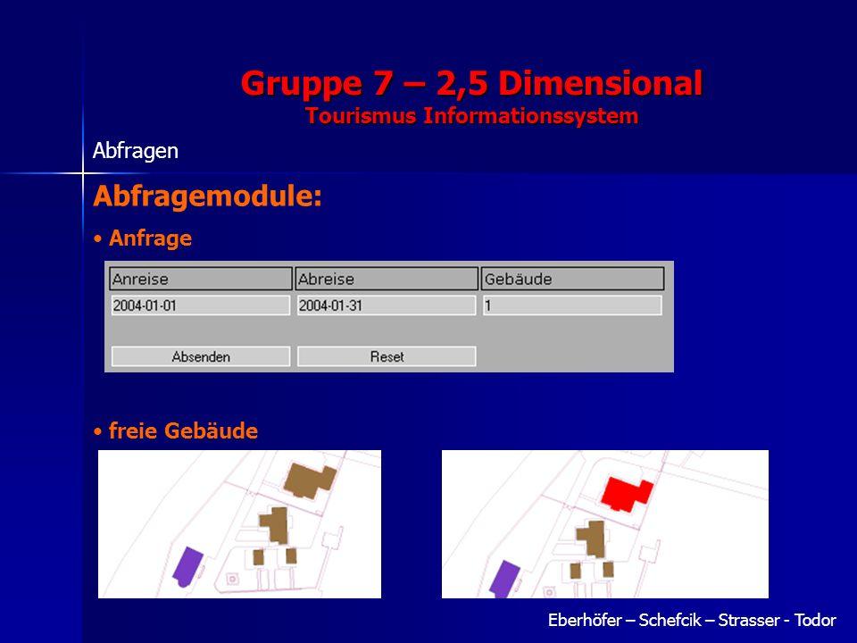 Gruppe 7 – 2,5 Dimensional Tourismus Informationssystem Eberhöfer – Schefcik – Strasser - Todor Abfragen Abfragemodule: Anfrage freie Gebäude