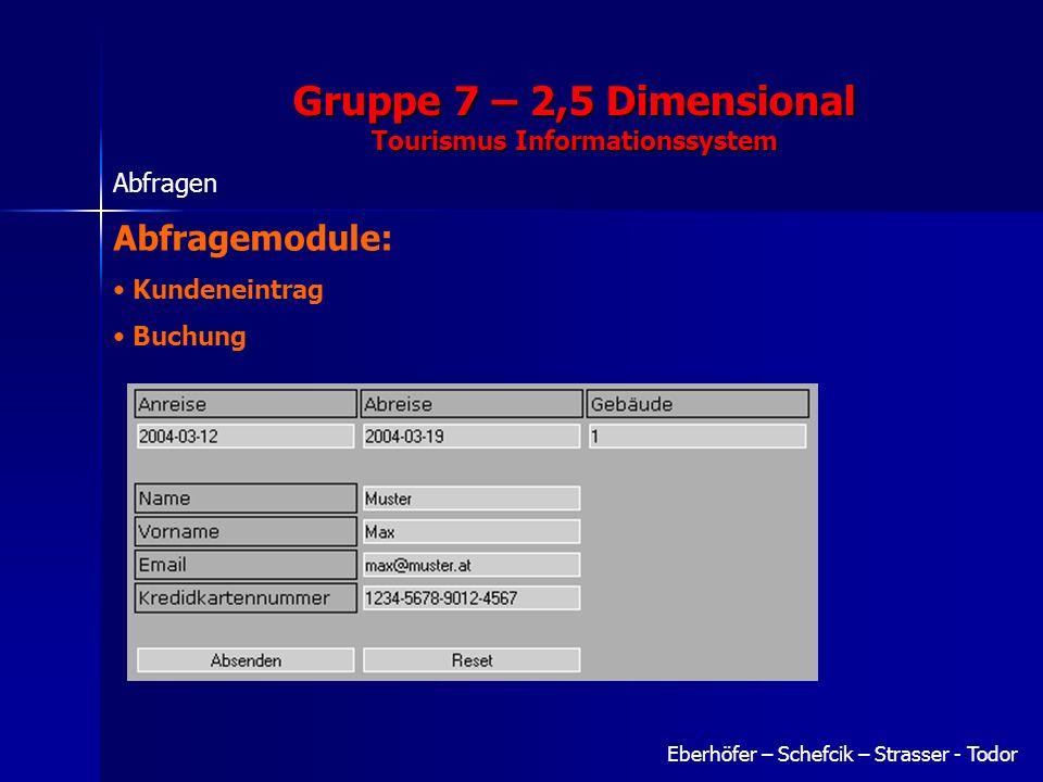 Gruppe 7 – 2,5 Dimensional Tourismus Informationssystem Eberhöfer – Schefcik – Strasser - Todor Abfragen Abfragemodule: Kundeneintrag Buchung