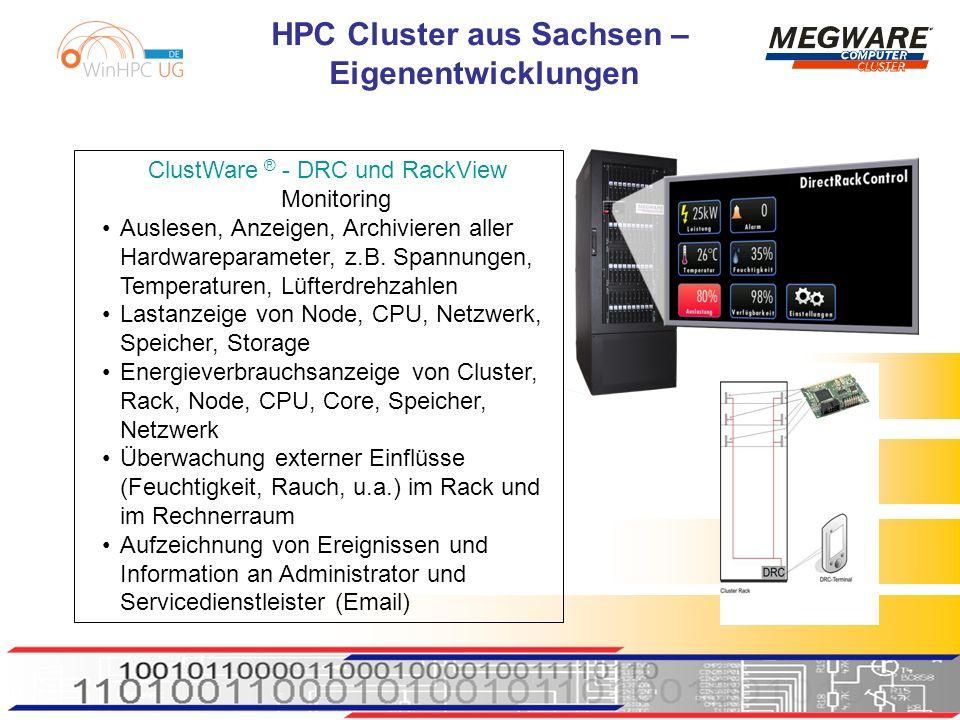 HPC Cluster aus Sachsen – Eigenentwicklungen ClustWare ® - DRC und RackView Monitoring Auslesen, Anzeigen, Archivieren aller Hardwareparameter, z.B.