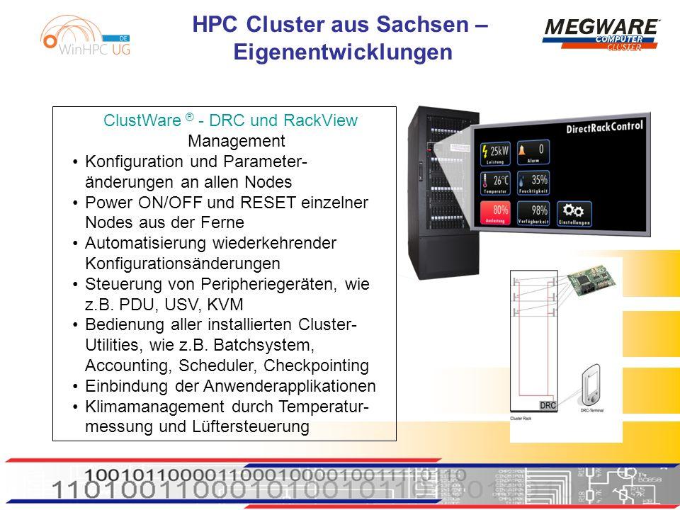 HPC Cluster aus Sachsen – Eigenentwicklungen ClustWare ® - DRC und RackView Management Konfiguration und Parameter- änderungen an allen Nodes Power ON/OFF und RESET einzelner Nodes aus der Ferne Automatisierung wiederkehrender Konfigurationsänderungen Steuerung von Peripheriegeräten, wie z.B.