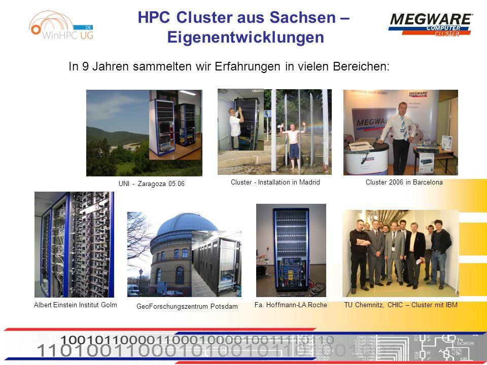 HPC Cluster aus Sachsen – Eigenentwicklungen In 9 Jahren sammelten wir Erfahrungen in vielen Bereichen: TU Chemnitz, CHIC – Cluster mit IBM Albert Einstein Institut Golm Cluster 2006 in Barcelona Cluster - Installation in Madrid UNI - Zaragoza 05.06 Fa.