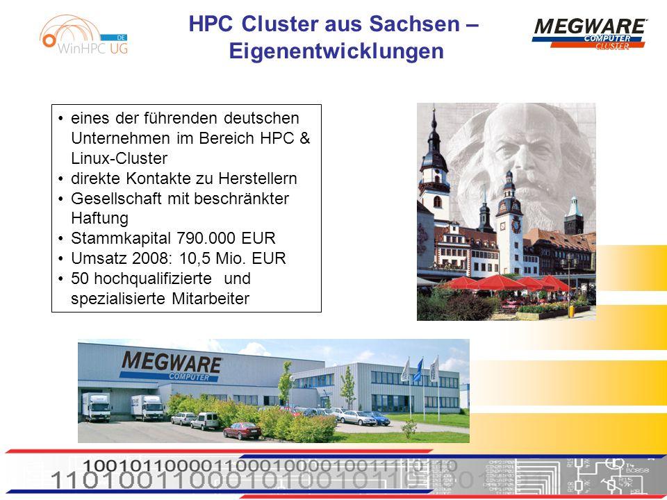 HPC Cluster aus Sachsen – Eigenentwicklungen eines der führenden deutschen Unternehmen im Bereich HPC & Linux-Cluster direkte Kontakte zu Herstellern Gesellschaft mit beschränkter Haftung Stammkapital 790.000 EUR Umsatz 2008: 10,5 Mio.