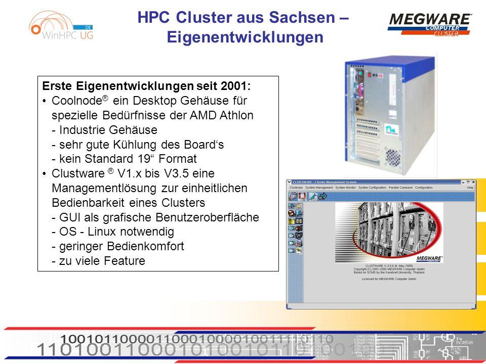 HPC Cluster aus Sachsen – Eigenentwicklungen Erste Eigenentwicklungen seit 2001: Coolnode ® ein Desktop Gehäuse für spezielle Bedürfnisse der AMD Athlon - Industrie Gehäuse - sehr gute Kühlung des Boards - kein Standard 19 Format Clustware ® V1.x bis V3.5 eine Managementlösung zur einheitlichen Bedienbarkeit eines Clusters - GUI als grafische Benutzeroberfläche - OS - Linux notwendig - geringer Bedienkomfort - zu viele Feature