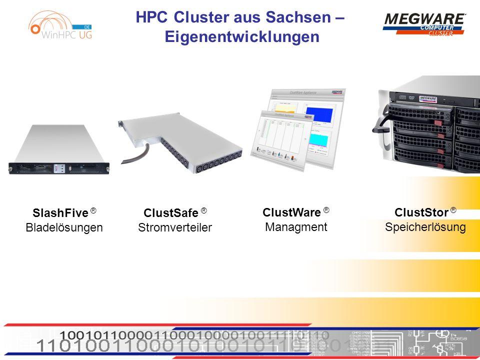HPC Cluster aus Sachsen – Eigenentwicklungen SlashFive ® Bladelösungen ClustSafe ® Stromverteiler ClustWare ® Managment ClustStor ® Speicherlösung