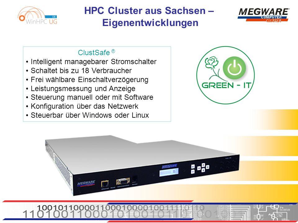 HPC Cluster aus Sachsen – Eigenentwicklungen ClustSafe ® Intelligent managebarer Stromschalter Schaltet bis zu 18 Verbraucher frei wählbare Einschaltverzögerung Leistungsmessung und Anzeige Steuerung manuell oder mit Software Konfiguration über das Netzwerk steuerbar über Windows oder Linux