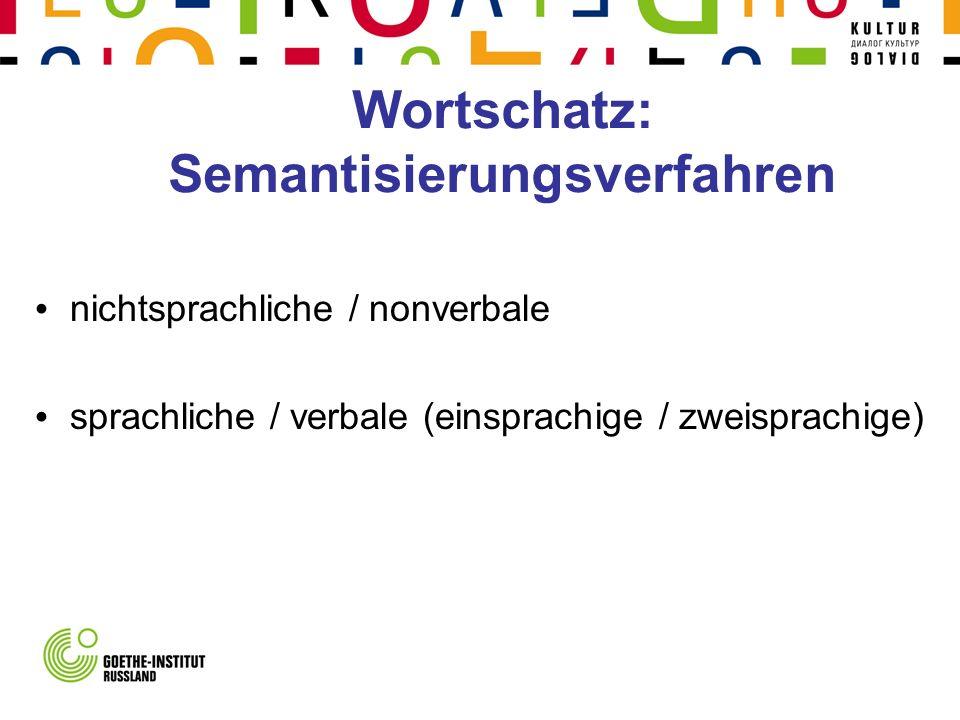 Wortschatz: Semantisierungsverfahren nichtsprachliche / nonverbale sprachliche / verbale (einsprachige / zweisprachige)