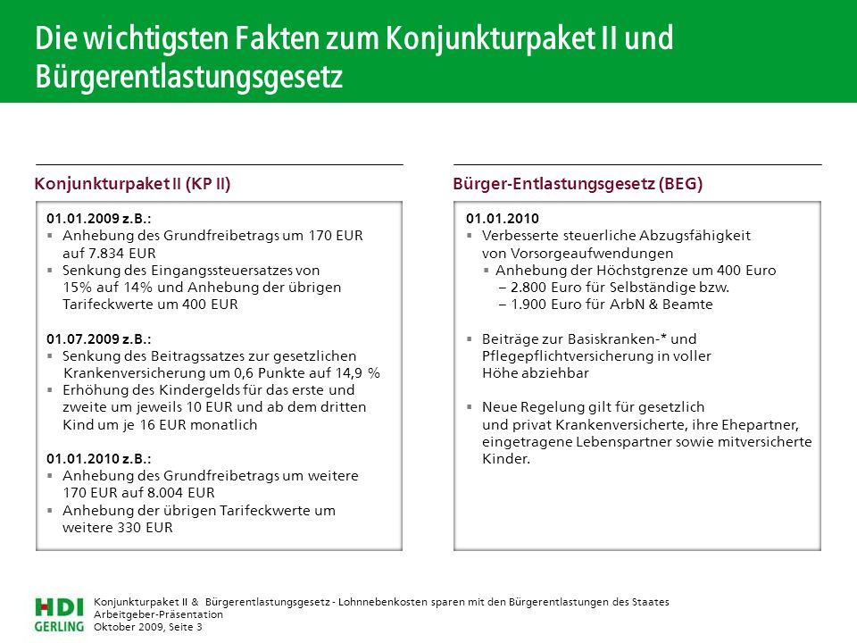 Arbeitgeber-Präsentation Oktober 2009, Seite 3 Konjunkturpaket II & Bürgerentlastungsgesetz - Lohnnebenkosten sparen mit den Bürgerentlastungen des St