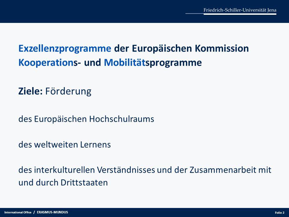 Exzellenzprogramme der Europäischen Kommission Kooperations- und Mobilitätsprogramme Ziele: Förderung des Europäischen Hochschulraums des weltweiten L