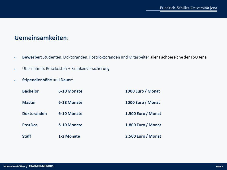 Gemeinsamkeiten: Bewerber: Studenten, Doktoranden, Postdoktoranden und Mitarbeiter aller Fachbereiche der FSU Jena Übernahme: Reisekosten + Krankenver