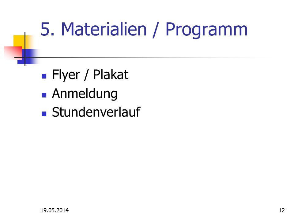 19.05.201412 5. Materialien / Programm Flyer / Plakat Anmeldung Stundenverlauf