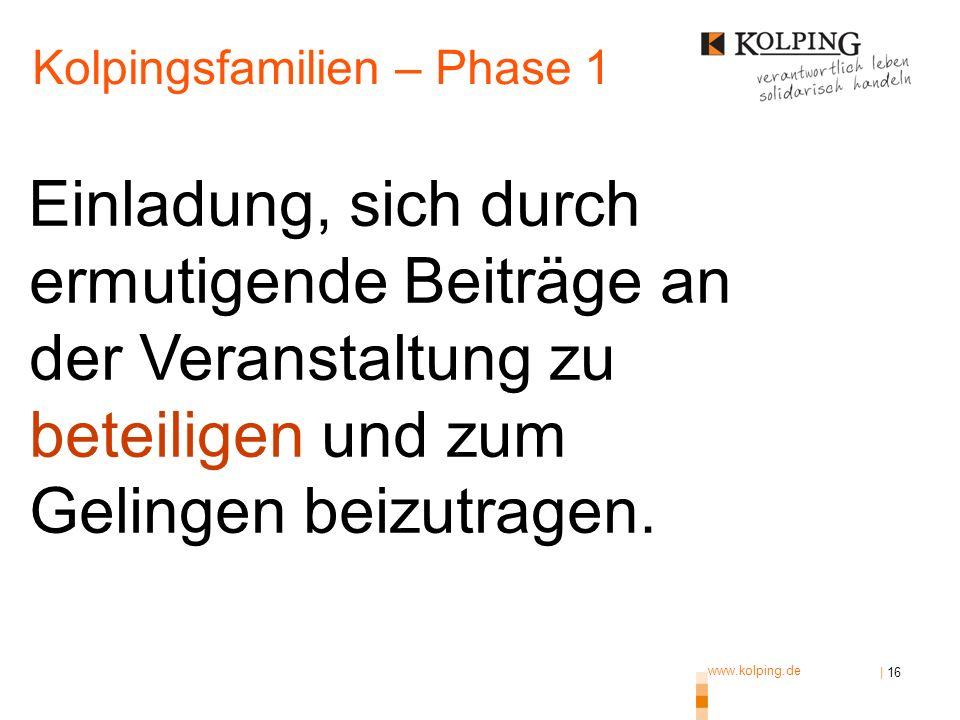 www.kolping.de | 16 Einladung, sich durch ermutigende Beiträge an der Veranstaltung zu beteiligen und zum Gelingen beizutragen. Kolpingsfamilien – Pha