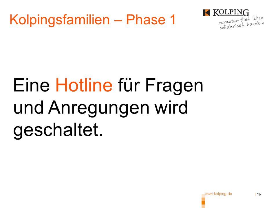 www.kolping.de | 16 Eine Hotline für Fragen und Anregungen wird geschaltet. Kolpingsfamilien – Phase 1