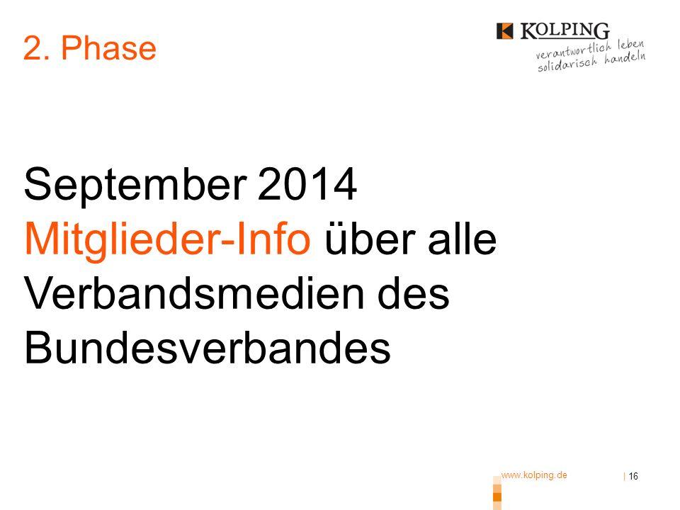 www.kolping.de | 16 September 2014 Mitglieder-Info über alle Verbandsmedien des Bundesverbandes 2. Phase