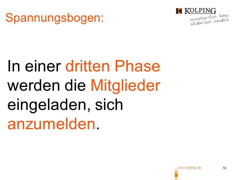 www.kolping.de | 16 In einer dritten Phase werden die Mitglieder eingeladen, sich anzumelden. Spannungsbogen: