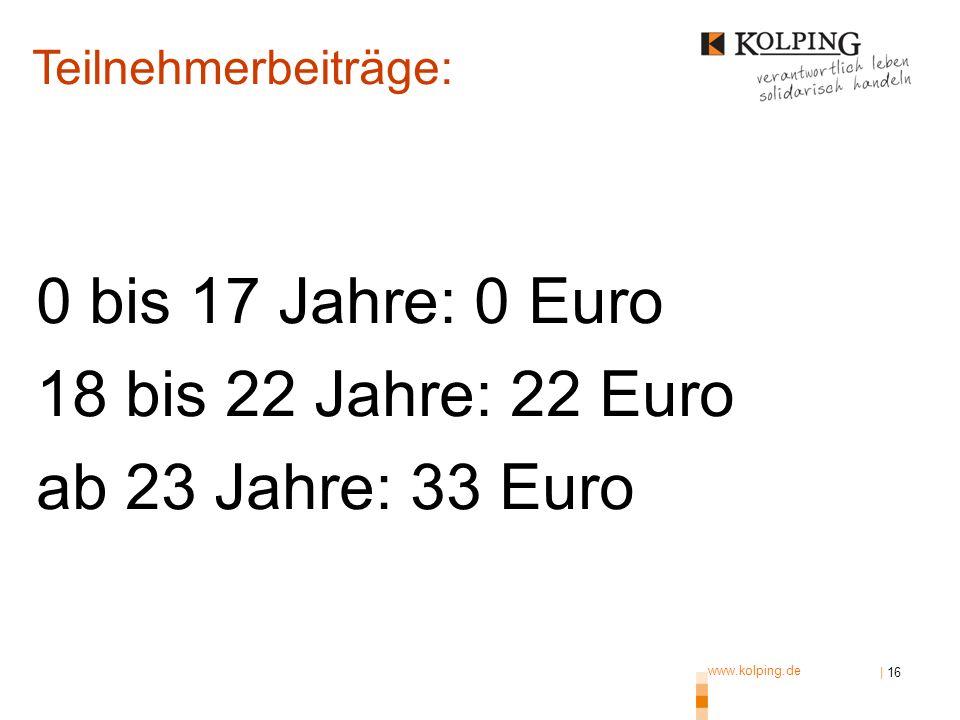 www.kolping.de | 16 0 bis 17 Jahre: 0 Euro 18 bis 22 Jahre: 22 Euro ab 23 Jahre: 33 Euro Teilnehmerbeiträge: