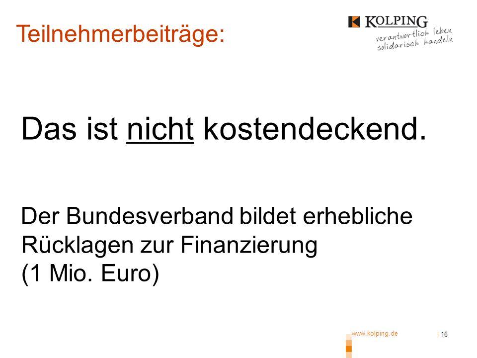 www.kolping.de | 16 Das ist nicht kostendeckend. Der Bundesverband bildet erhebliche Rücklagen zur Finanzierung (1 Mio. Euro) Teilnehmerbeiträge: