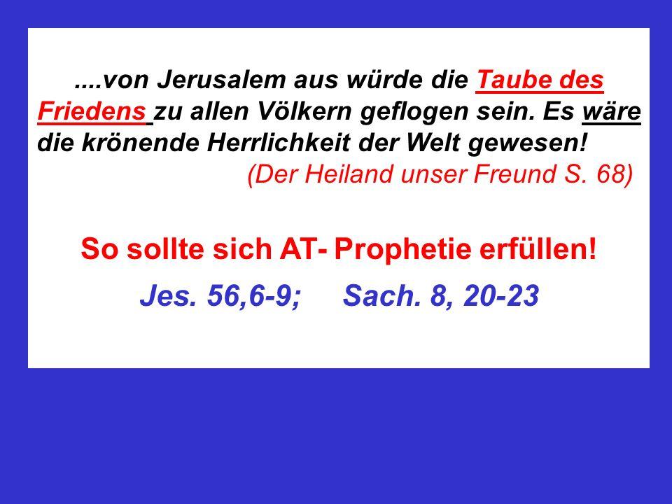 ....von Jerusalem aus würde die Taube des Friedens zu allen Völkern geflogen sein. Es wäre die krönende Herrlichkeit der Welt gewesen! (Der Heiland un