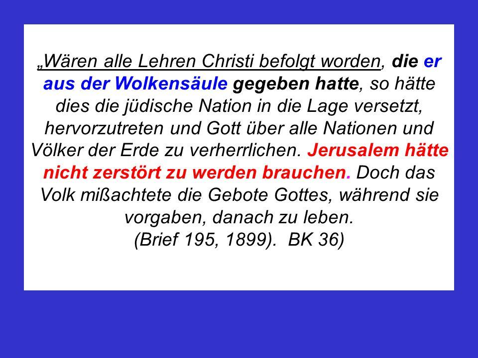 Wären alle Lehren Christi befolgt worden, die er aus der Wolkensäule gegeben hatte, so hätte dies die jüdische Nation in die Lage versetzt, hervorzutr