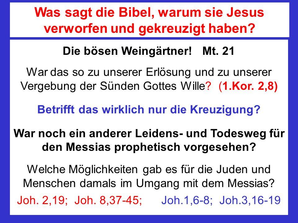 Die bösen Weingärtner! Mt. 21 War das so zu unserer Erlösung und zu unserer Vergebung der Sünden Gottes Wille? (1.Kor. 2,8) Betrifft das wirklich nur