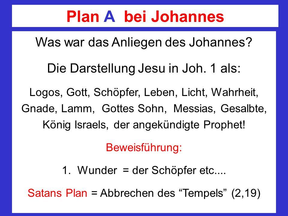 Plan A bei Johannes Was war das Anliegen des Johannes? Die Darstellung Jesu in Joh. 1 als: Logos, Gott, Schöpfer, Leben, Licht, Wahrheit, Gnade, Lamm,