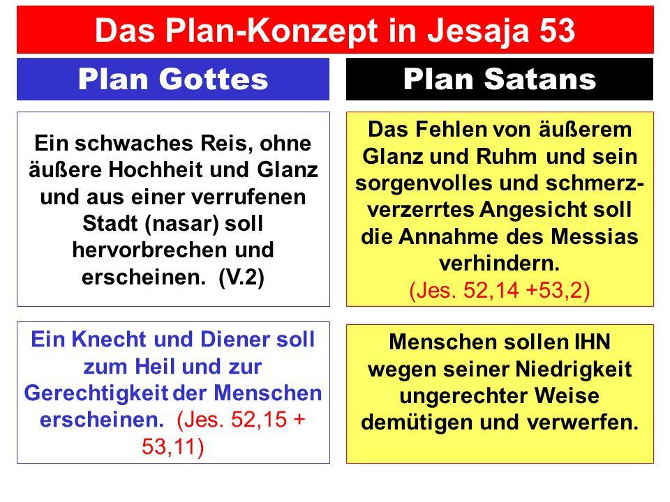 Plan GottesPlan Satans Ein Knecht und Diener soll zum Heil und zur Gerechtigkeit der Menschen erscheinen. (Jes. 52,15 + 53,11) Das Plan-Konzept in Jes