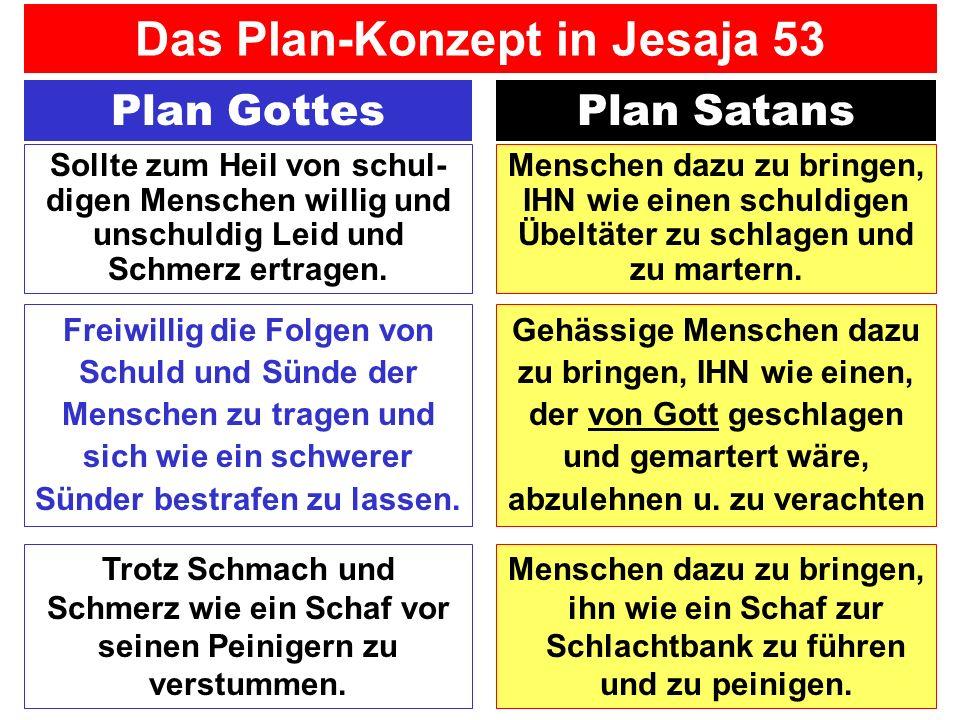 Plan GottesPlan Satans Gehässige Menschen dazu zu bringen, IHN wie einen, der von Gott geschlagen und gemartert wäre, abzulehnen u. zu verachten Freiw