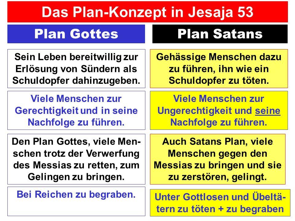 Plan GottesPlan Satans Gehässige Menschen dazu zu führen, ihn wie ein Schuldopfer zu töten. Sein Leben bereitwillig zur Erlösung von Sündern als Schul