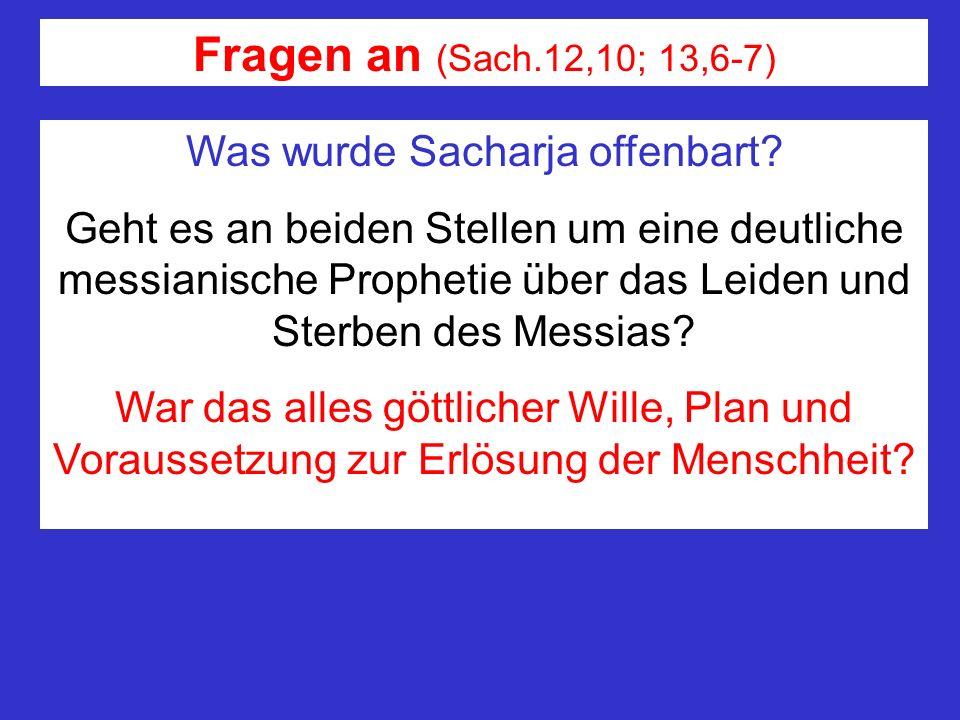 Fragen an (Sach.12,10; 13,6-7) Was wurde Sacharja offenbart? Geht es an beiden Stellen um eine deutliche messianische Prophetie über das Leiden und St