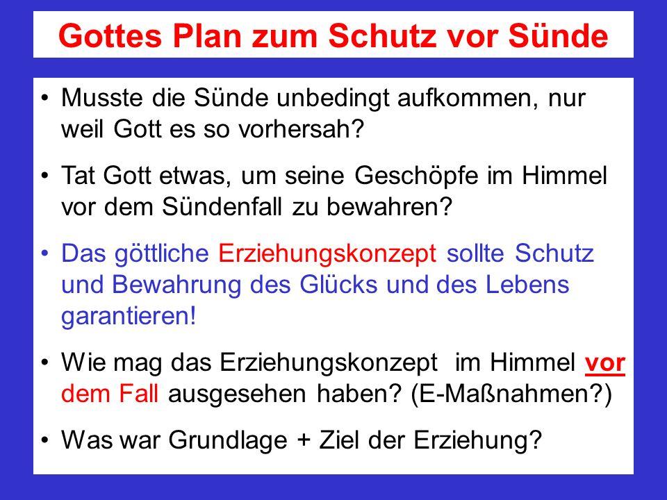Gottes Plan zum Schutz vor Sünde Musste die Sünde unbedingt aufkommen, nur weil Gott es so vorhersah? Tat Gott etwas, um seine Geschöpfe im Himmel vor