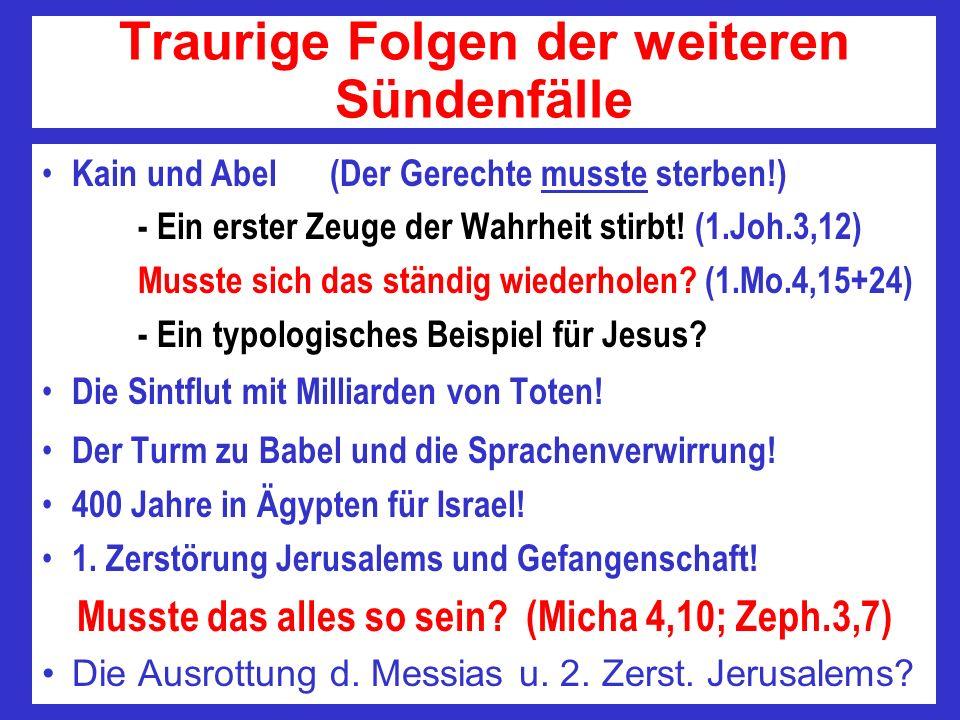 Traurige Folgen der weiteren Sündenfälle Kain und Abel(Der Gerechte musste sterben!) - Ein erster Zeuge der Wahrheit stirbt! (1.Joh.3,12) Musste sich
