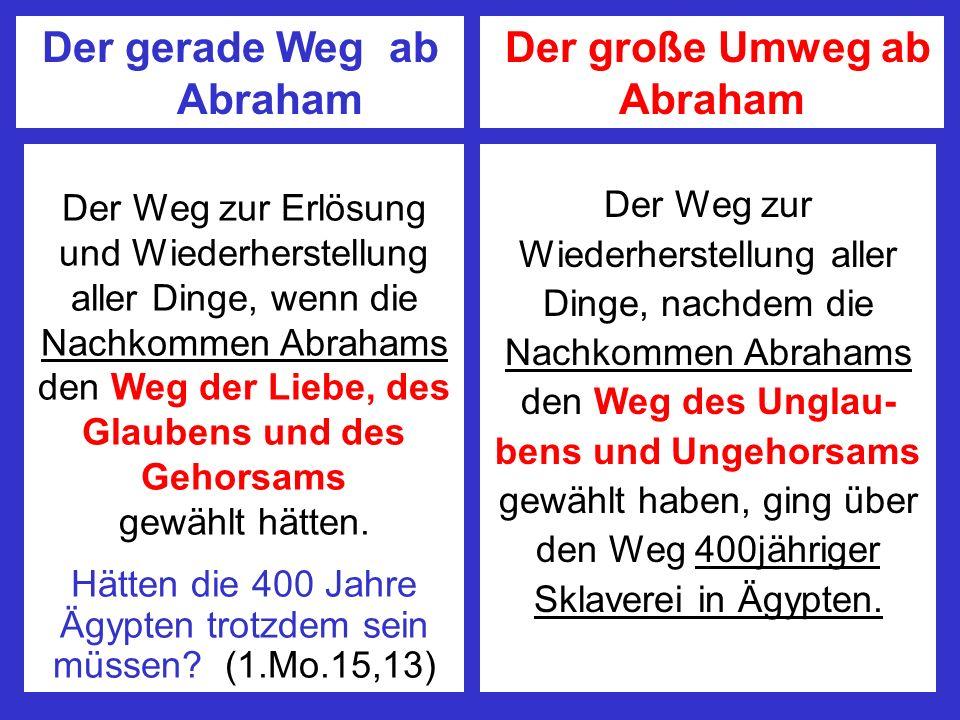 Der gerade Weg ab Abraham Der große Umweg ab Abraham Der Weg zur Erlösung und Wiederherstellung aller Dinge, wenn die Nachkommen Abrahams den Weg der