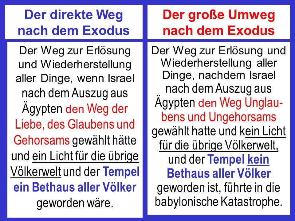 Der direkte Weg nach dem Exodus Der große Umweg nach dem Exodus Der Weg zur Erlösung und Wiederherstellung aller Dinge, wenn Israel nach dem Auszug au