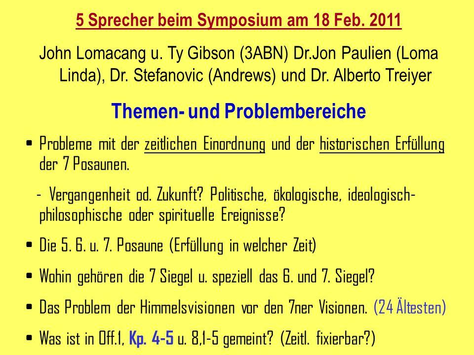 5 Sprecher beim Symposium am 18 Feb.2011 John Lomacang u.