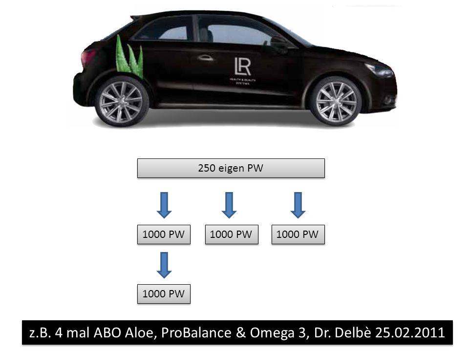 250 eigen PW 1000 PW z.B. 4 mal ABO Aloe, ProBalance & Omega 3, Dr. Delbè 25.02.2011