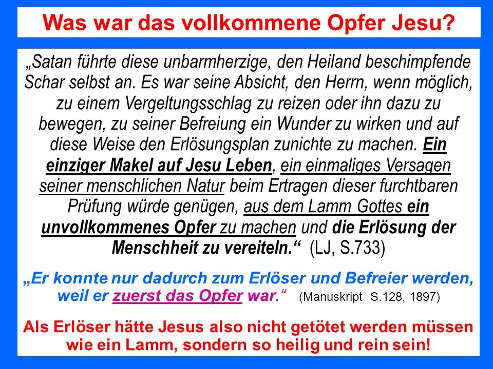 Was war das vollkommene Opfer Jesu? Satan führte diese unbarmherzige, den Heiland beschimpfende Schar selbst an. Es war seine Absicht, den Herrn, wenn