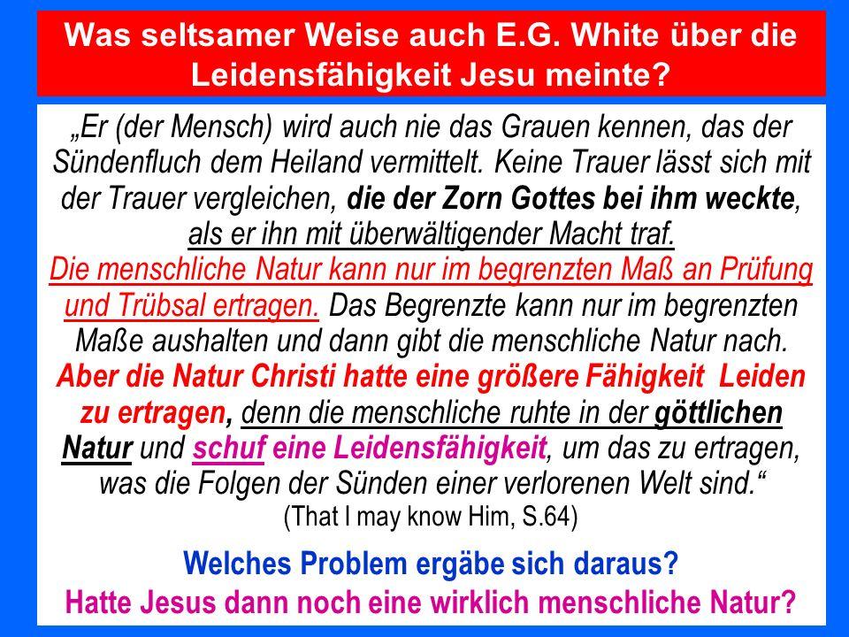 Was seltsamer Weise auch E.G. White über die Leidensfähigkeit Jesu meinte? Er (der Mensch) wird auch nie das Grauen kennen, das der Sündenfluch dem He