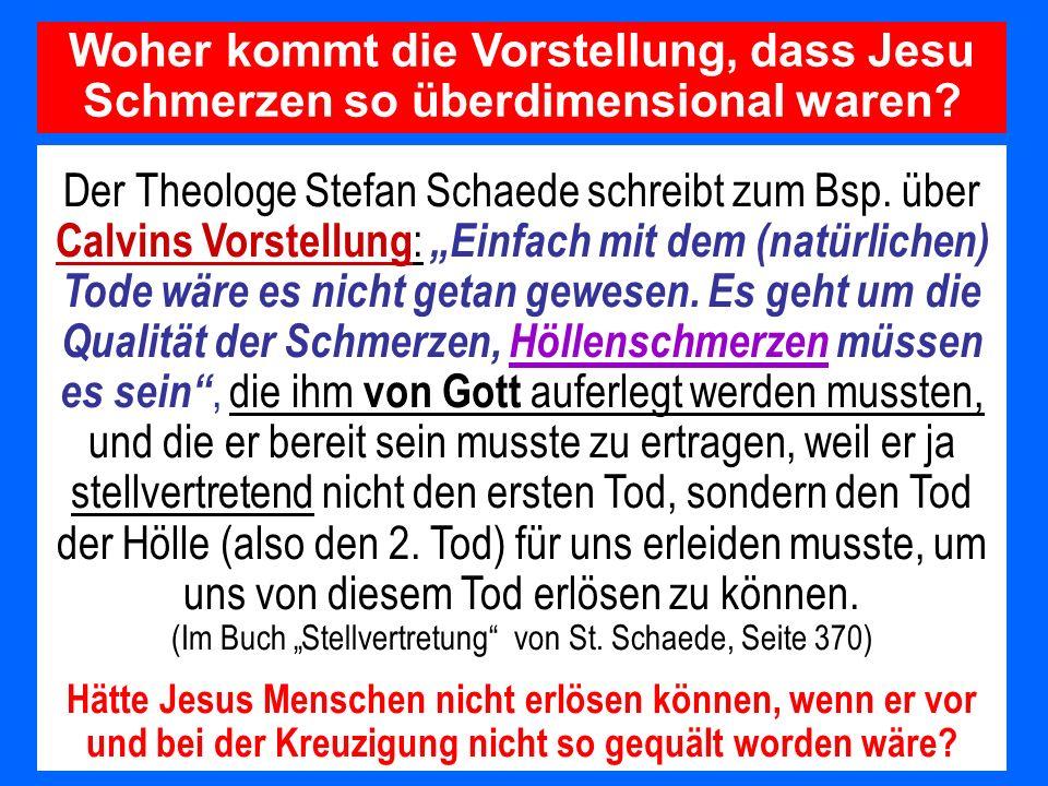 Der Theologe Stefan Schaede schreibt zum Bsp. über Calvins Vorstellung : Einfach mit dem (natürlichen) Tode wäre es nicht getan gewesen. Es geht um di