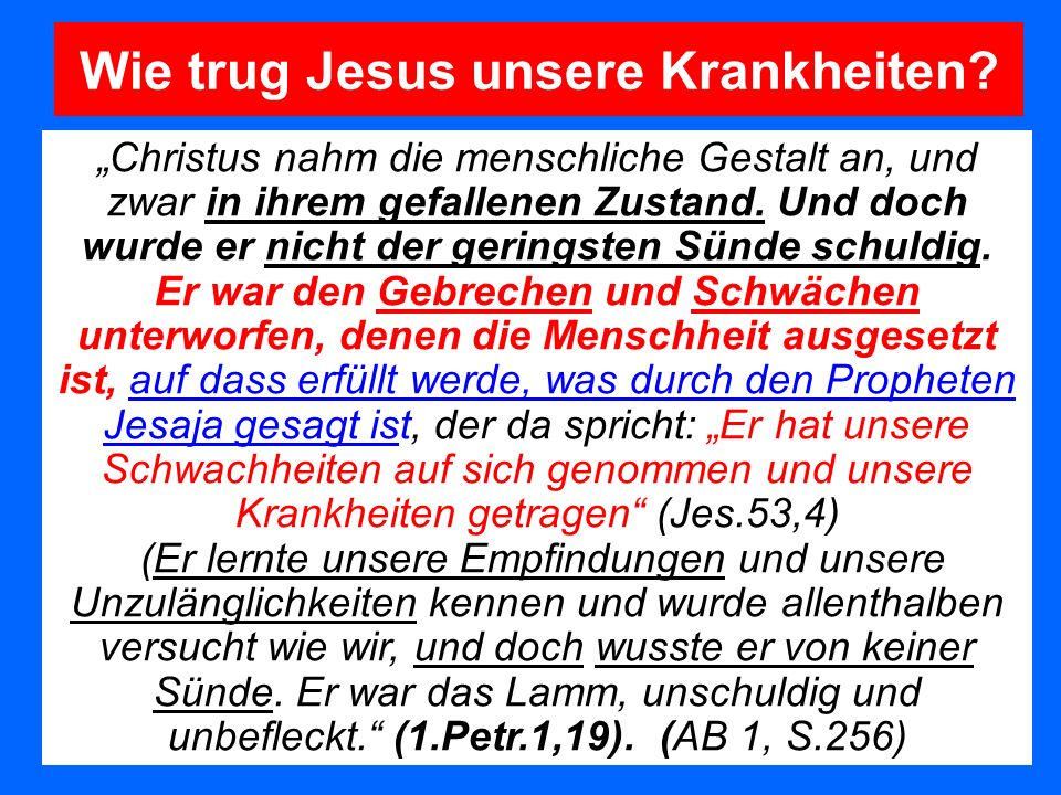 Christus nahm die menschliche Gestalt an, und zwar in ihrem gefallenen Zustand. Und doch wurde er nicht der geringsten Sünde schuldig. Er war den Gebr
