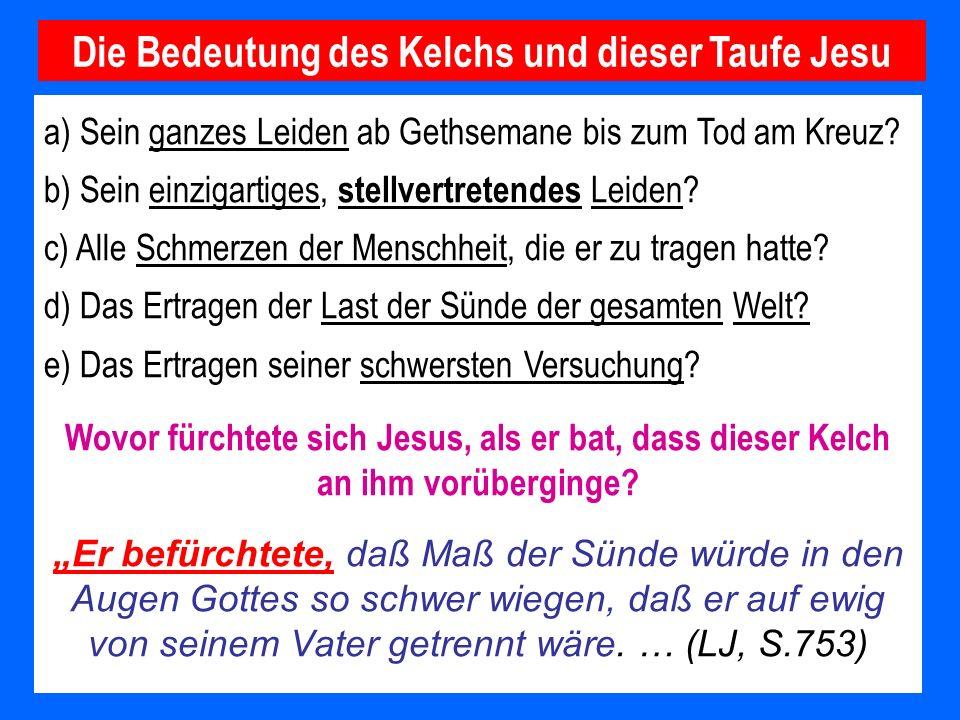 a) Sein ganzes Leiden ab Gethsemane bis zum Tod am Kreuz? b) Sein einzigartiges, stellvertretendes Leiden? c) Alle Schmerzen der Menschheit, die er zu