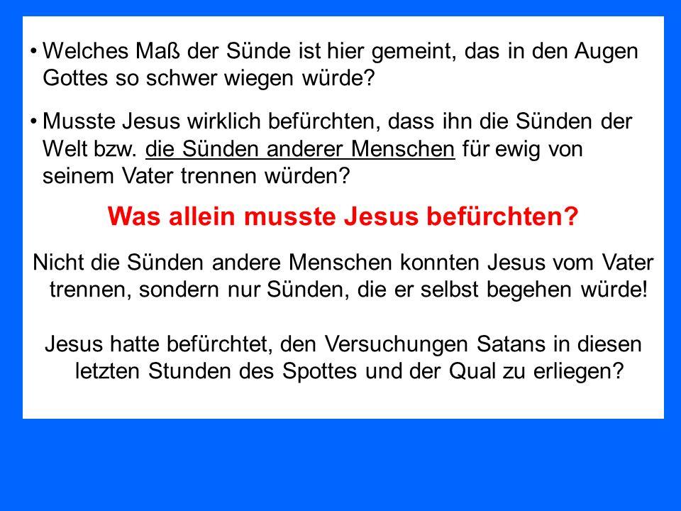 Welches Maß der Sünde ist hier gemeint, das in den Augen Gottes so schwer wiegen würde? Musste Jesus wirklich befürchten, dass ihn die Sünden der Welt