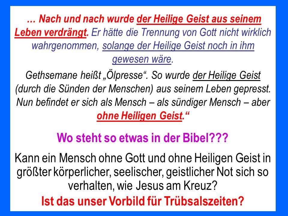 … Nach und nach wurde der Heilige Geist aus seinem Leben verdrängt. Er hätte die Trennung von Gott nicht wirklich wahrgenommen, solange der Heilige Ge