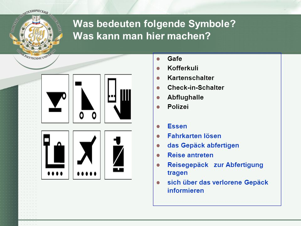 Was bedeuten folgende Symbole. Was kann man hier machen.